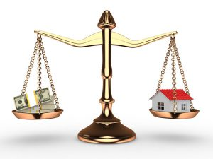 Decorative Image - House and Money balanced on scales