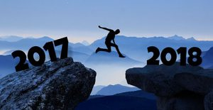 Decorative Image - Man jumping from 2017 into 2018.