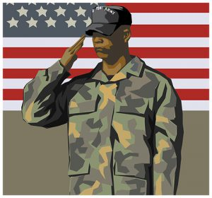 Decorative Image - A soldier saluting