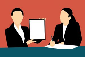 Decorative Image - Cartoon image of two workers presenting.