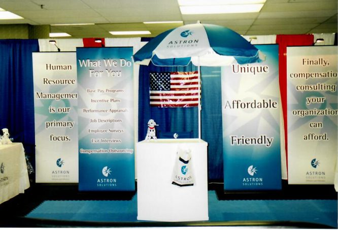 Photo of The Astron Solutions booth at a 2002 Trade Show