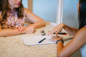 Talent Acquisition: Two women in conversation for an interview
