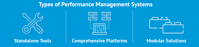Here are the different types of performance management systems: standalone tools, comprehensive platforms, and modular solutions.