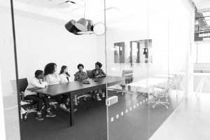 Decorative Image: Black and White Photo of Women In the Office
