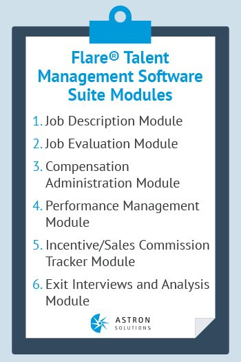 There are a number of modules in Astron Solution's talent management software.